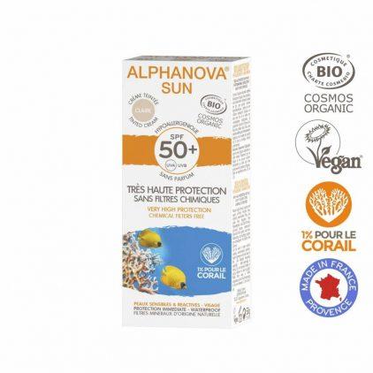 Alphanova Bio Spf 50+ Getinte Zonnebrandcreme Allergische Gevoelige Huid Waterproof